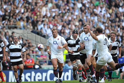 30.05.2010. Barbarians v England May 30 at Twickenham Stadium, Middlesex. England kick the ball ahead. England won this special match by a score over the Barbarians of England 35 Barbarians 26