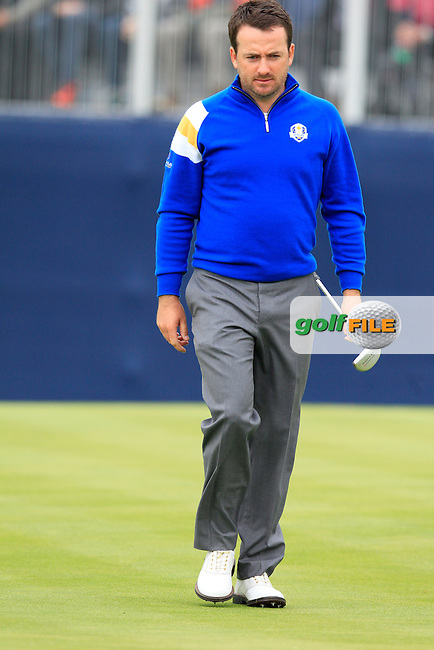 Graeme McDowell (EUR) walks onto the 15th green during Sunday's Singles Matches of the Ryder Cup 2014 played on the PGA Centenary Course at the Gleneagles Hotel, Auchterarder, Scotland.: Picture Eoin Clarke, www.golffile.ie: 28th September 2014