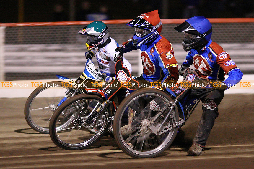 Heat 1: Andreas Jonsson (red), Leigh Lanham (blue) and Jaroslaw Hampel - Lakeside Hammers vs Ipswich Witches - Craven Shield Speedway at Arena Essex Raceway - 21/03/08 - MANDATORY CREDIT: Gavin Ellis/TGSPHOTO - Self billing applies where appropriate - Tel: 0845 094 6026
