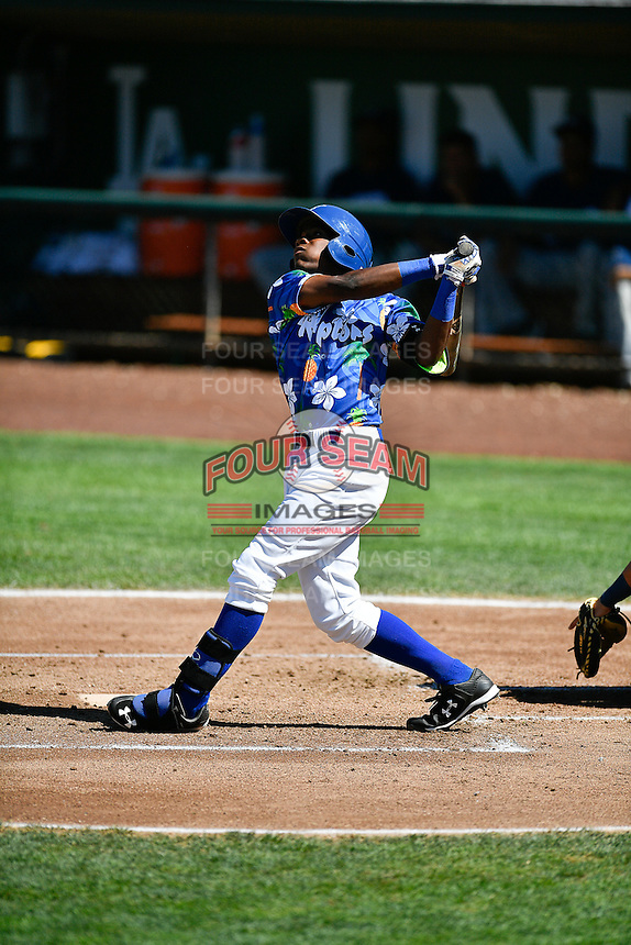 Errol Robinson (9) of the Ogden Raptors at bat against the Helena Brewers in Pioneer League action at Lindquist Field on July 16, 2016 in Ogden, Utah. Ogden defeated Helena 5-4. (Stephen Smith/Four Seam Images)