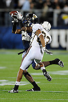 22 November 2008:  FIU defensive back Dezariah Johnson (29) intercepts a ULM pass in the ULM 31-27 victory over FIU at FIU Stadium in Miami, Florida.