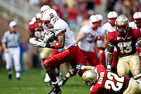 October 31, 2009:   North Carolina State wide receiver Darrell Davis (15) breaks the tackle of Korey Mangum (22) during Atlantic Coast Conference action between the North Carolina State Wolfpack and Florida State Seminoles at Doak Campbell Stadium in Tallahassee, Florida.
