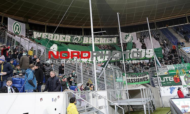 04.02.2015, Wirsol Rhein-Neckar-Arena, Sinsheim, 1. Liga  2014/2015, 19. Spieltag R&uuml;ckrunde, TSG 1899 Hoffenheim vs. SV Werder Bremen<br /> Bremer Fankurve<br /> Foto &copy; nordphoto /  Bratic