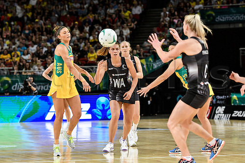 09.10.2016. Qudos Bank Arena, Sydney, Australia. Constellation Cup Netball. Australia Diamonds versus New Zealand Silver Ferns. New Zealands Grace Rasmussen passes the ball. The Diamonds won the game 68-56.
