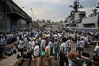 Beirut, Lebanon, July 20 2006.India has diverted 4 destroyers from his Western Fleet, including its flagship I.N.S. Mumbai, to evacuate India nationals still blocked inside besieged Lebanon. more than 800 people, mostly workers, were processed and embarked  to safety in an orderly fashion in just a few hours.