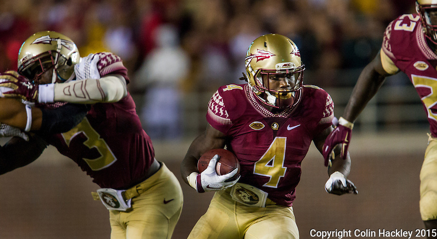TALLAHASSEE, FLA. 9/5/15-Florida State University's Dalvin Cook runs against Texas State University during first half action at Doak Campbell Stadium in Tallahassee.<br /> <br /> COLIN HACKLEY PHOTO