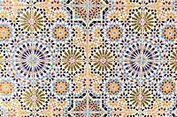 Senegal, Saint Louis.  Moroccan Tiles used in the Grande Mosque, principal mosque of Saint Louis.