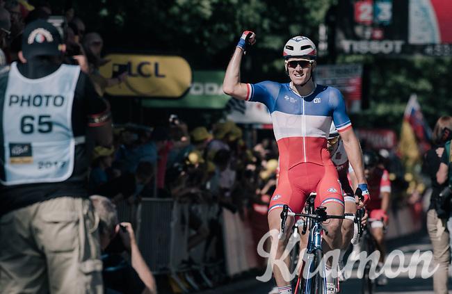 French Champion Arnaud D&eacute;mare (FRA/FDJ) wins a the tumultuous finale into Vittel<br /> <br /> 104th Tour de France 2017<br /> Stage 4 - Mondorf-les-Bains &rsaquo; Vittel (203km)