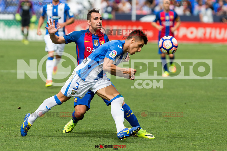 FC Barcelona's Paco Alcacer Club Deportivo Leganes's Unai Bustinza during the match of La Liga between Club Deportivo Leganes and Futbol Club Barcelona at Butarque Estadium in Leganes. September 17, 2016. (ALTERPHOTOS/Rodrigo Jimenez) /NORTEPHOTO