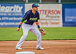 22 June 2017: Vermont Lake Monsters infielder Javier Godard in action against the Brooklyn Cyclones at Centennial Field in Burlington, Vermont. The Lake Monsters fell to the Cyclones 5-3 in NY Penn League action. Mandatory Credit: Ed Wolfstein Photo *** RAW (NEF) Image File Available ***