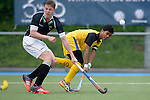 GER - Mannheim, Germany, May 16: During the whitsun tournament boys hockey match between Malaysia (yellow) and Germany U17 (black) on May 16, 2016 at Mannheimer HC in Mannheim, Germany. Final score 5-5 (HT 1-4). (Photo by Dirk Markgraf / www.265-images.com) *** Local caption ***