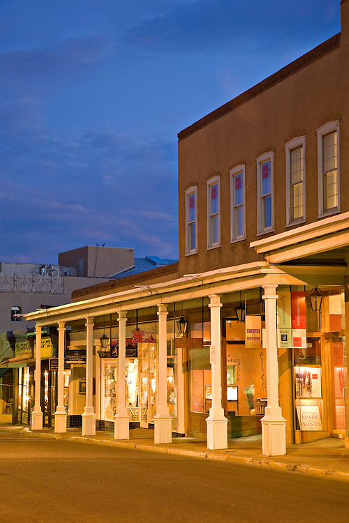 Exterior view of shops along San Francisco Street in Santa Fe, New Mexico