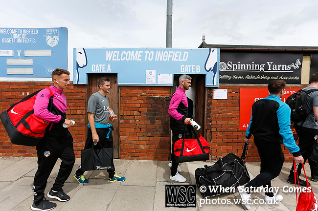 Jersey players arrive at the ground. Yorkshire v Parishes of Jersey, CONIFA Heritage Cup, Ingfield Stadium, Ossett. Yorkshire's first competitive game. The Yorkshire International Football Association was formed in 2017 and accepted by CONIFA in 2018. Their first competative fixture saw them host Parishes of Jersey in the Heritage Cup at Ingfield stadium in Ossett. Yorkshire won 1-0 with a 93 minute goal in front of 521 people. Photo by Paul Thompson