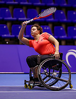 Rotterdam, Netherlands, December 15, 2017, Topsportcentrum, Ned. Loterij NK Tennis, Semi final wheelchair doubles woman, Fleur Pieterse (NED)<br /> Photo: Tennisimages/Henk Koster
