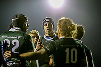 Nottingham Rugby re-group after a London Scottish try during the Greene King IPA Championship match between London Scottish Football Club and Nottingham Rugby at Richmond Athletic Ground, Richmond, United Kingdom on 16 October 2015. Photo by David Horn.