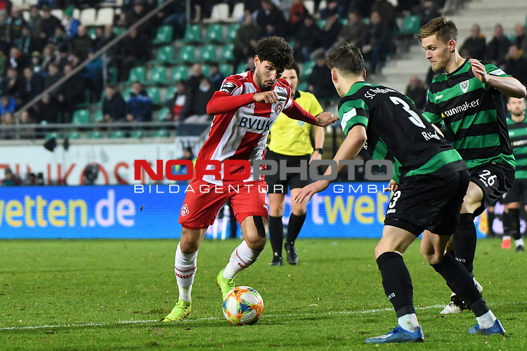 14.02.2020, Preußenstadion, Münster, GER, 3.FBL, SC Preussen Muenster vs. FC Wuerzburger Kickers, <br /> <br /> DFL REGULATIONS PROHIBIT ANY USE OF PHOTOGRAPHS AS IMAGE SEQUENCES AND/OR QUASI-VIDEO<br /> <br /> im Bild<br /> v. li. im Zweikampf Fabio Kaufmann (FC Würzburger Kickers #7) und Oliver Steurer (SC Preußen Münster #26)<br /> <br /> Foto © nordphoto / Paetzel