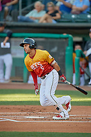 Michael Hermosillo (5) of the Salt Lake Bees at bat against the Oklahoma City Dodgers at Smith's Ballpark on August 1, 2019 in Salt Lake City, Utah. The Bees defeated the Dodgers 14-4. (Stephen Smith/Four Seam Images)