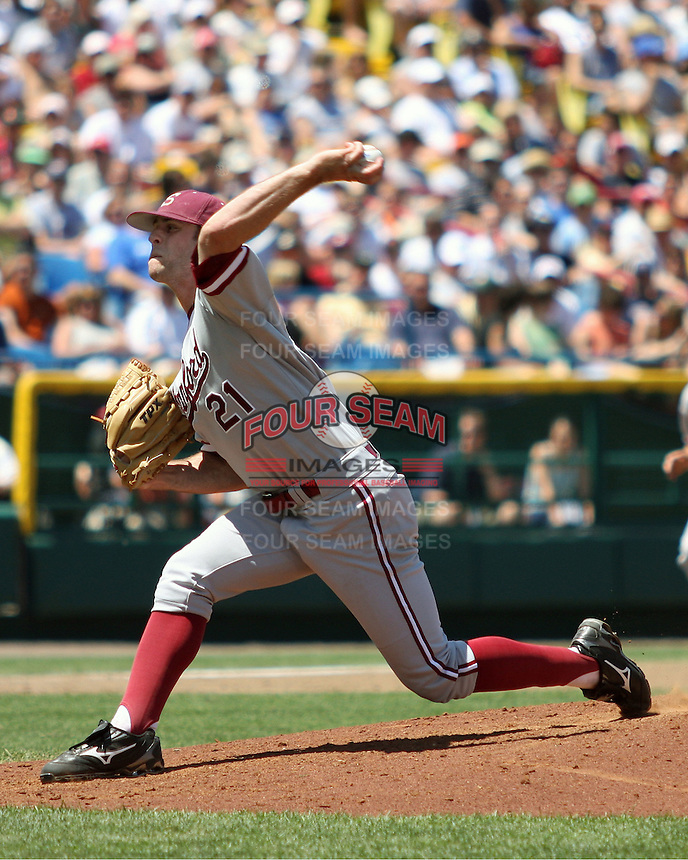 Stanford starting pitcher Jeremy Bleich on Saturday June 14th at the NCAA Men's College World Series (Game #1) at Rosenblatt Stadium in Omaha, Nebraska. Photo by Andrew Woolley / Baseball America