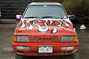 Flames Painted on a Car. The car is in the Burning Man headquarters. San Francisco, California, USA