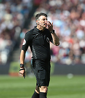 Referee Lee Probert<br /> <br /> Photographer Rob Newell/CameraSport<br /> <br /> The Premier League - West Ham United v Leicester City - Saturday 20th April 2019 - London Stadium - London<br /> <br /> World Copyright © 2019 CameraSport. All rights reserved. 43 Linden Ave. Countesthorpe. Leicester. England. LE8 5PG - Tel: +44 (0) 116 277 4147 - admin@camerasport.com - www.camerasport.com