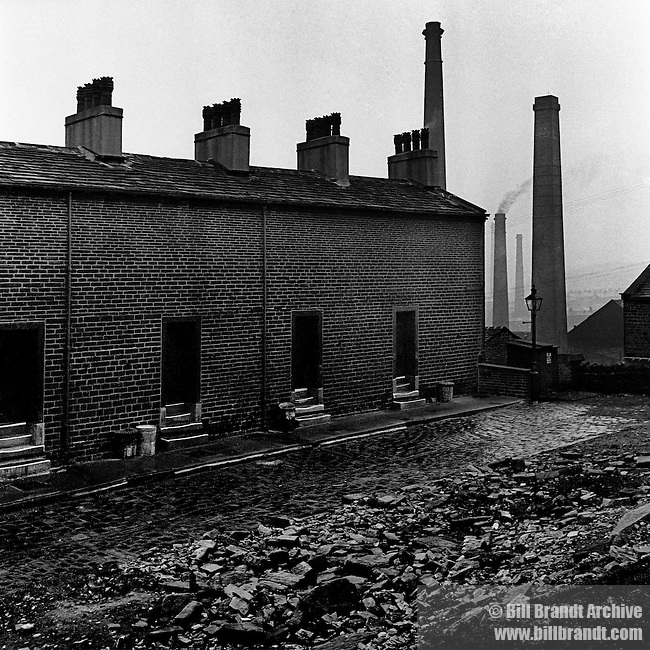 Coal miners houses without windows to the street, 1930s