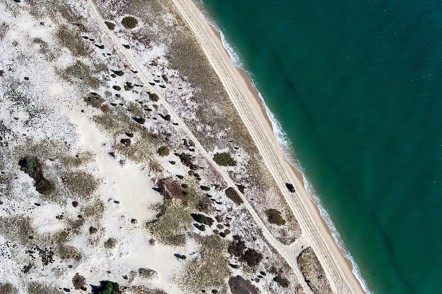 Aerial view of Chappaquiddick Island beach, Martha's Vineyard, Massachusetts, USA