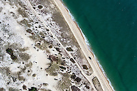 Aerial view of Chappaquiddick Island beach, Martha's Vineyard, Massachusetts, USA