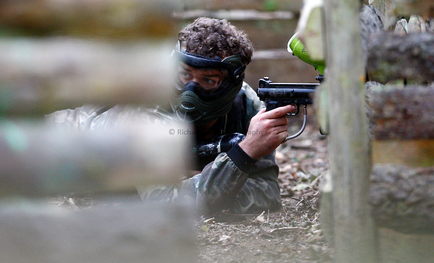 Photo:Richard Lane/Richard Lane Photography. London Wasps team visit Maidenhead Paintball. 20/09/2011. Matt Everard.