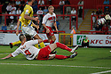 Marcus Haber of Stevenage scores their third goal. Stevenage v AFC Wimbledon - Capital One Cup First Round - Lamex Stadium, Stevenage . - 14th August, 2012. © Kevin Coleman 2012