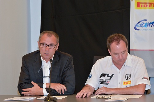 17 September 2015, Austin, Texas USA<br /> L to R, Stefano Domenicali, Marc Sours,<br /> LAT Photo USA