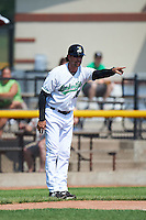 Clinton LumberKings manager Scott Steinmann (22) during a game against the Great Lakes Loons on August 16, 2015 at Ashford University Field in Clinton, Iowa.  Great Lakes defeated Clinton 3-2.  (Mike Janes/Four Seam Images)