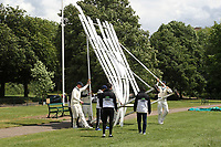 The sighscreen is raised again after being blown over in the strong wind during Hornchurch CC (batting) vs Billericay CC, Shepherd Neame Essex League Cricket at Harrow Lodge Park on 8th June 2019