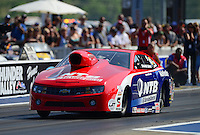 Jun. 15, 2012; Bristol, TN, USA: NHRA pro stock driver Shane Gray during qualifying for the Thunder Valley Nationals at Bristol Dragway. Mandatory Credit: Mark J. Rebilas-