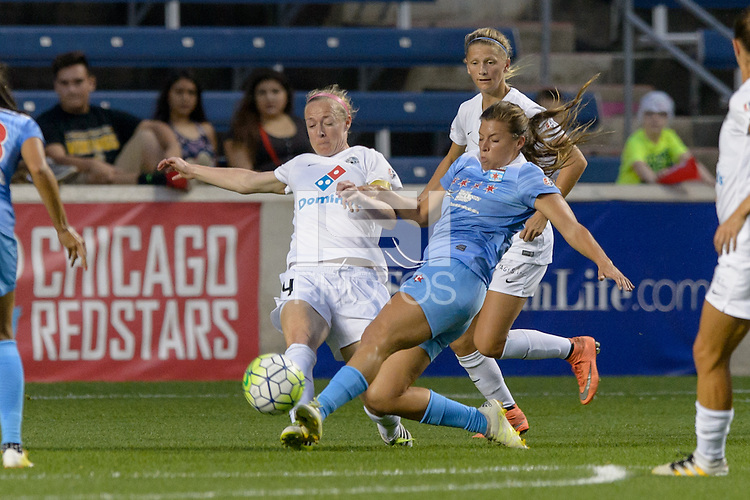 Chicago, IL - Wednesday Sept. 07, 2016: Becky Sauerbrunn, Sofia Huerta during a regular season National Women's Soccer League (NWSL) match between the Chicago Red Stars and FC Kansas City at Toyota Park.