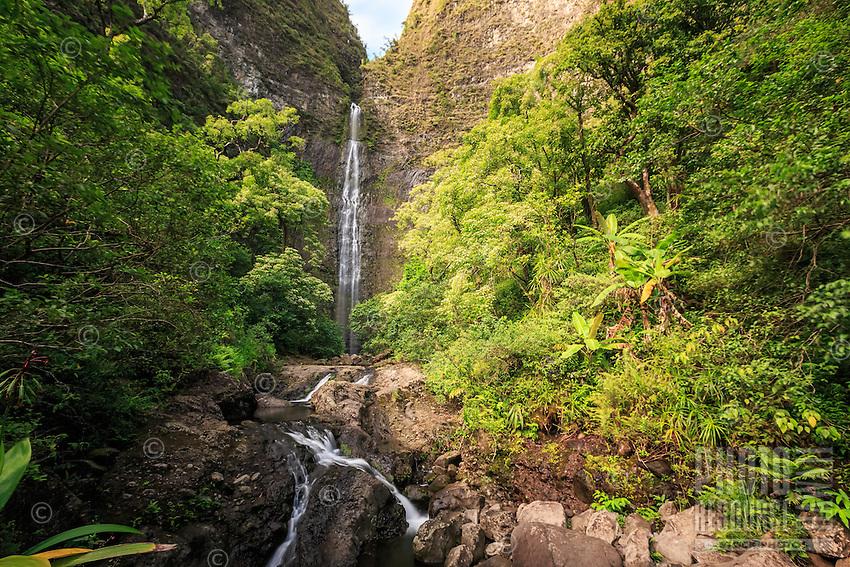 Hanakapi'ai Falls is a 300-ft. waterfall deep along Kaua'i's famed Na Pali Coast. This view shows the Hanakapi'ai Falls Trail as it leads to the cascading waterfall at the end of Hanakapi'ai Valley.