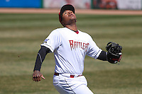 Wisconsin Timber Rattlers first baseman David Denson (13) chases down a foul ball during a game against the Cedar Rapids Kernels on April 23rd, 2015 at Fox Cities Stadium in Appleton, Wisconsin.  Cedar Rapids defeated Wisconsin 3-0.  (Brad Krause/Four Seam Images)