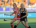 The Hague, Netherlands, June 05: Stacey Michelsen #31 of New Zealand in action during the field hockey group match (Women - Group A) between New Zealand and The Netherlands on June 5, 2014 during the World Cup 2014 at Kyocera Stadium in The Hague, Netherlands. Final score 0-2 (0-2) (Photo by Dirk Markgraf / www.265-images.com) *** Local caption ***