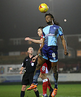 Marcus Bean of Wycombe Wanderers wins a header <br /> during the Sky Bet League 2 match between Accrington Stanley and Wycombe Wanderers at the wham stadium, Accrington, England on 28 February 2017. Photo by Tony  KIPAX.