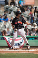 San Jose Giants first baseman John Riley (15) during a California League game against the Stockton Ports on April 9, 2019 in Stockton, California. San Jose defeated Stockton 4-3. (Zachary Lucy/Four Seam Images)