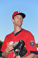 Mississippi Braves pitcher Aaron Northcraft (28) poses for a photo before a game against the Montgomery Biscuits on April 21, 2014 at Riverwalk Stadium in Montgomery, Alabama.  Montgomery defeated Mississippi 6-2.  (Mike Janes/Four Seam Images)