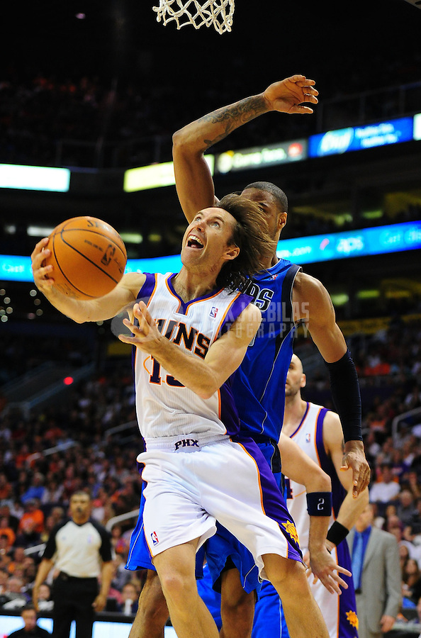 Mar. 27, 2011; Phoenix, AZ, USA; Phoenix Suns guard (13) Steve Nash against the Dallas Mavericks at the US Airways Center. The Maverick defeated the Suns 91-83. Mandatory Credit: Mark J. Rebilas-