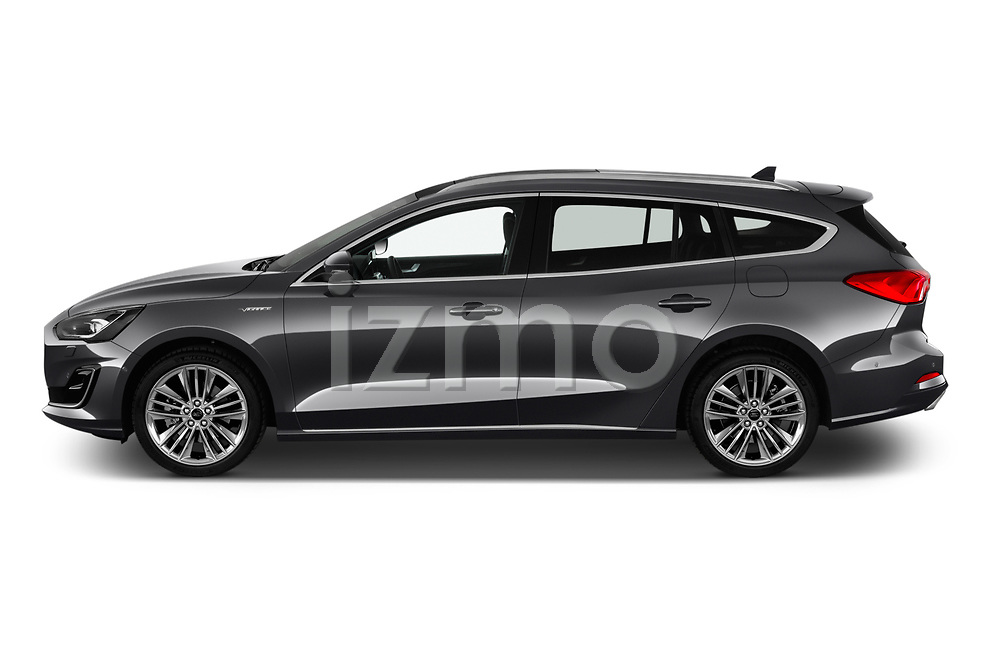 Car driver side profile view of a 2019 Ford Focus-Clipper Vignale 5 Door Wagon