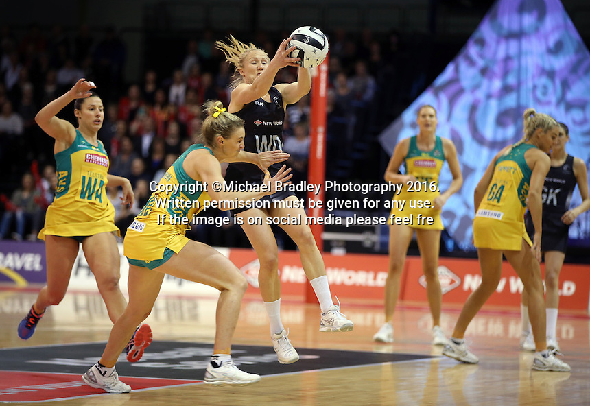 20.10.2016 Silver Ferns Laura Langman and Australia's Gabi Simpson in action during the Silver Ferns v Australia netball test match played at ILT Stadium in Invercargill. Mandatory Photo Credit ©Michael Bradley.
