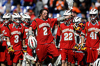 Travis Reed (2) of Maryland celebrates the win after their game at the Face-Off Classic in at M&T Stadium in Baltimore, MD