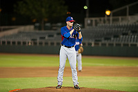 AZL Rangers starting pitcher Derek Heffel (43) prepares to deliver a pitch to the plate against the AZL Giants on August 22 at Scottsdale Stadium in Scottsdale, Arizona. AZL Rangers defeated the AZL Giants 7-5. (Zachary Lucy/Four Seam Images via AP Images)