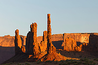 Totem Pole formation at sunset, Monument Valley, Arizona