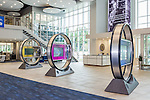 July 6, 2016. Greenville, South Carolina. <br />  The lobby of the GE Advanced Manufacturing Works building. Opened in November, the AMW houses additive technology manufacturing facilities, as well as other advanced technologies that Ge is utilizing,  <br />  At the General Electric Gas Turbine factory, engineers  design, produce, test and repair gas turbines for generating electricity. These turbines weigh more than 900,000 pounds and can create internal combustion temperatures up to 2,900 degrees F. Depending on the model, one of the GE turbines can produce enough electricity for half a million American households.
