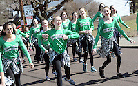 Miss Cindy's Broad Street Entertainers dance as they marched during the 2nd annual Pennridge St Patrick's Day Parade and Celtic Festival Saturday March 12, 2016 in Sellersville, Pennsylvania. (Photo by William Thomas Cain)