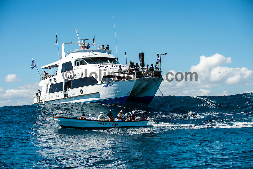 Namotu Island Resort, Nadi, Fiji (Thursday, June 16 2016):   Marshalling Boat - The Fiji Pro, stop No. 5 of 11 on the 2016 WSL Championship Tour, was recommenced today at Cloudbreak with a consistent SSW swell in the 6'-8' range. <br /> Rounds 4 and 5 were completed in perfect conditions with a number of rides in the excellent range including two perfect 10 point rides form Gabriel Medina (BRA) and Kelly Slater (USA).<br /> The contest will wrap up tomorrow in what is shaping up as another perfect surf day.<br /> Photo: joliphotos.com