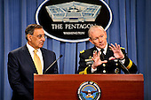 United States Secretary of Defense Leon E. Panetta and General Martin Dempsey, Chairman of the Joint Chiefs of Staff, address the media shortly after President Barack Obama left the Pentagon Press Briefing Room during a media availability event to discuss a much-reduced Pentagon budget. Panetta and Dempsy emphasized the Pentagon's commitment to maintaining a strong U.S. Military in light of sharp budget reductions. .Mandatory Credit: Glenn Fawcett / DoD via CNP